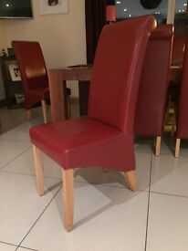 6 red leather dining chairs