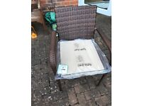 4 Rattan chairs with cushions. Brand new never used.
