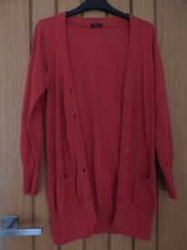 F&F red buttoned cardigan (size 10)