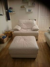 Cream leather chair and foot stool