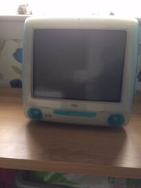 APPLE MAC DESLTOP COMP VINTAGE FOR UPCYCLING TURQUOISE / TEAL COLOUR No cables prob not functioning