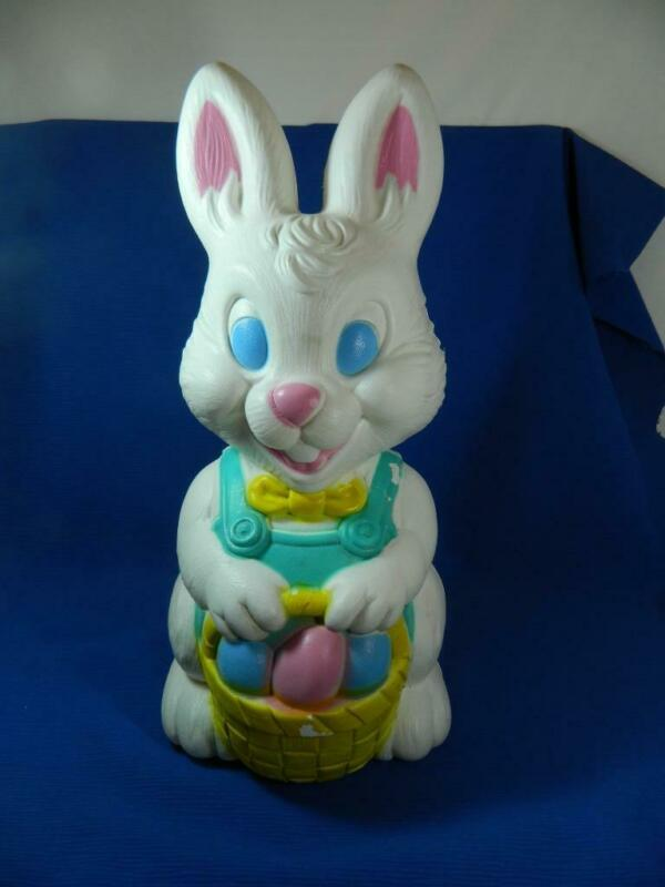 "Vintage General Foam White Easter Bunny Rabbit Outdoor 19"" Blow Mold ~ NO LIGHT"