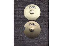 """Pair of 13"""" Paiste 101 brass hi-hat cymbals for drum kit"""