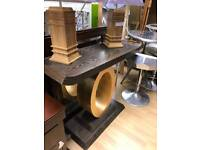 Dark wood and gold console/hallway table