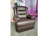 New Brown Faux Leather Manual Recliner Armchair