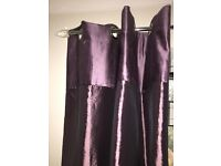 John Lewis purple curtains and silver pole