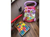 Vetch Baby walker and push along trolley with wooden blocks