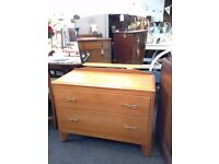 VINTAGE DRESSING TABLE/CHEST OF DRAWERS & MIRROR - SHABBY CHIC CHALK PAINT (439)