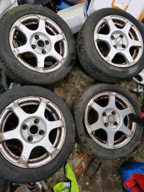 4x100 Fox Racing Alloy wheels vw polo lupo seat arosa golf e30 DFG