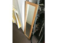 Full length wooden bedroom mirror