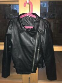 Girls leather look biker jacket