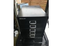 Bisley filing cabinet metal storage drawers black