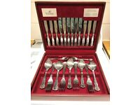 NEW Viners 44 Piece Silver Plated Canteen / Dining / Cutlery Service for 6 Persons in Burgundy Case