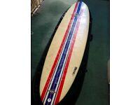 "Bilbo 7'2"" Mini Mal Surfboard || +FCS fins, Rhino board bag, Palmers deck grip, x2 leashes"