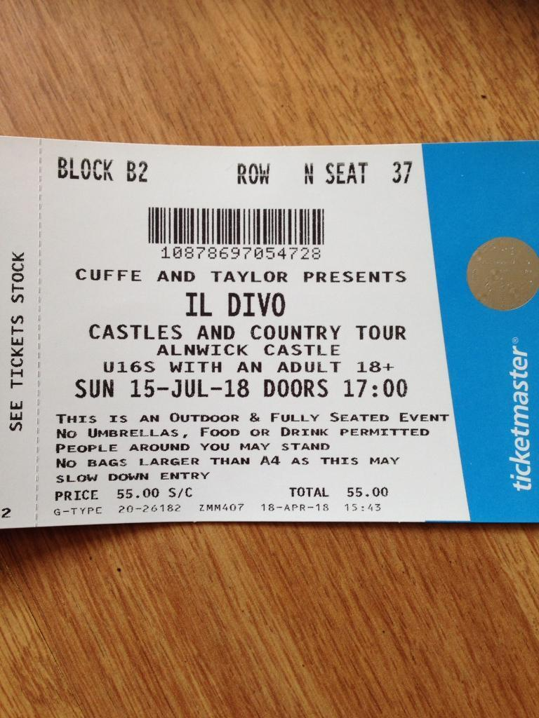 For sale 2 sets of il divo castle and country tour in alan wick ...