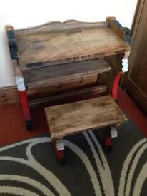 Solid Hand Made Wooden Desk With Matching Stool