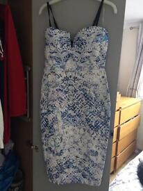 Lipsy Patterned blue and white dress size 10