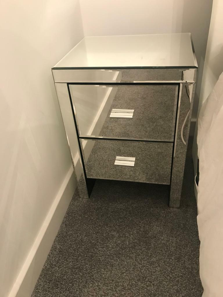 Mirrored 2 draw bedside table x2