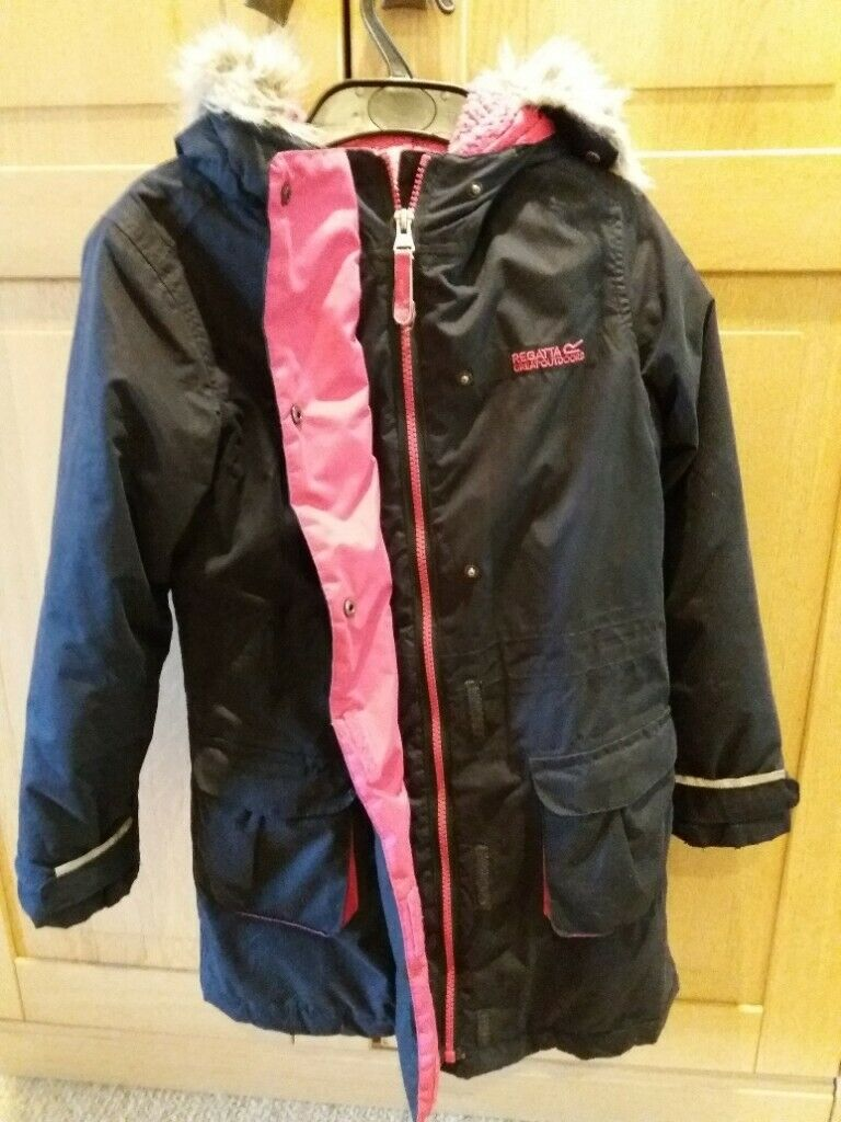 e72add5d4 2 girls jackets Next fur lined jacket + Regatta insulated waterproof parka  age 8-9 £5 each