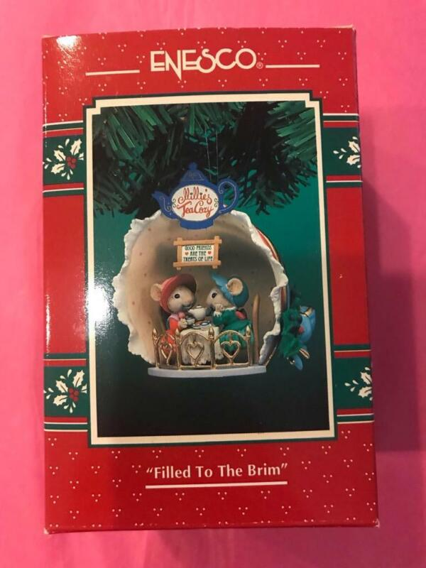 Enesco Ornament 1995 Filled to the Brim 3rd Final Holiday Hat Shoppe Mice HTF