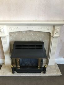 Gas fire with marble insert & composite mantle piece surround