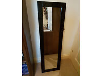 Wall Mounted Mirrored Jewellery Cabinet (Black)