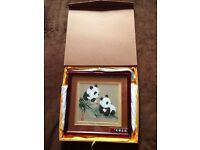 Beautiful new Chinese panda artwork in bordered frame and presentation box
