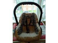 leopard print baby car seat for sale. Open to offers.