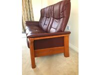 3 Seater Leather Sofa (Recliner) - Brown