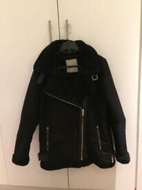 Faux suede biker jacket with faux fur interior - black with silver zips
