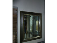 Beveled edge mirror with a decorative frame