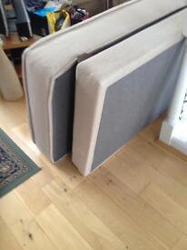 Single John Lewis bed (beige fabric base, fixed wooden slats, mattress): £80