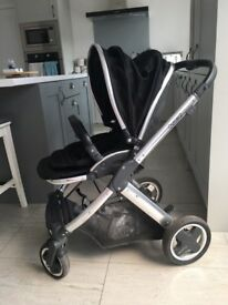 Oyster2 pushchair, carry cot, black colour pack, foot muff (never used) and rain cover