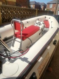 14ft 3.5mtr Narwhal rib with evinrude 50hp perfect running engine and galvinised trailer