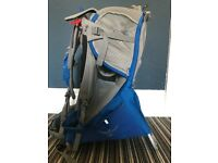 Osprey Poco Plus Child carrier with fitted sun visor/hood. Used but good condition. Blue/grey.