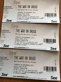 3 x The war on drugs tickets for Glasgow Barrowlands Nov 9th