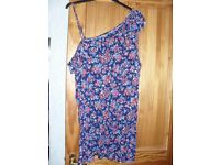 Size 24 Jersey Strap Tunic Top Blue/Flowered Not worn