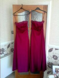 Two bridesmaid/prom dresses; sizes 8 & 10; burgundy-red; satin; Hilary Morgan label