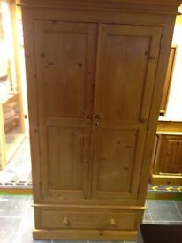 SOLID PINE 2 DOOR 1 DRAWER WARDROBE SOLID BACK DOVE TAIL JOINTS EVERY INCH SOLID NEEDS A TOUCH UP, M