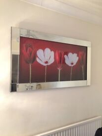 Large mirrored wall art picture, red with diamanté droplets, perfect condition.