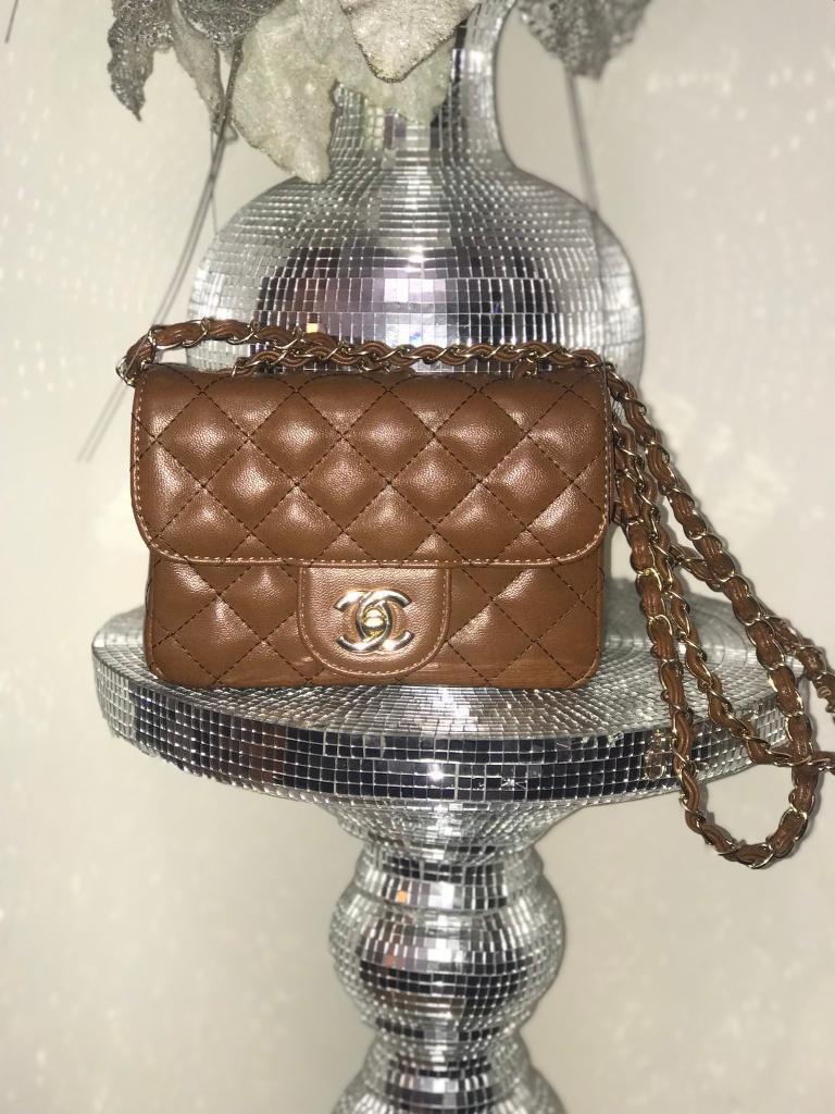 Women s Mini Classic Flap Handbag Shoulder Bag Brand New UK Tanned Gold f3f6e0eb9b22f