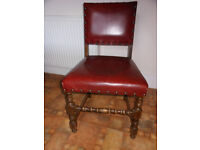 6 Solid Oak and Leather Dining chairs