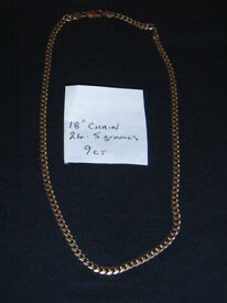"""9ct gold neck chain 18"""" long"""