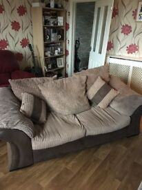 2 seater sofa and poofy