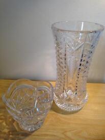 Tyrone crystal large vase & bowl