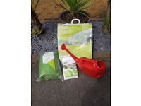 New garden items, watering can, insect mesh, fleece blanket, grow tunnel