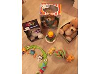 Teddys bears toys and pram rattley and pram clip on and play
