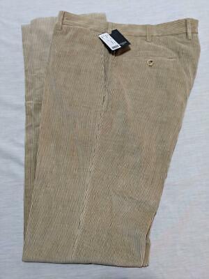 "$750 NWT INCOTEX Beige Cordury Cotton Flat Front Casual Pants    35"" Waist"