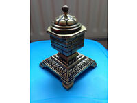 Victorian chimney pot inkwell, beautifully decorated brass