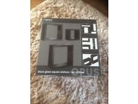 Next, set of 3 , black square shelves